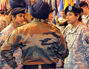 Balreet Kaur and Jasleen Kaur compare common courtesies of India and the US with an Indian Army soldier