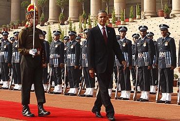 President Obama inspects an honour guard during an official arrival ceremony at Rashtrapati Bhavan in New Delhi