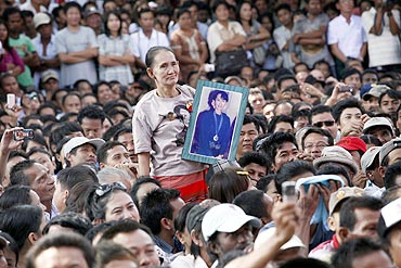 Suu Kyi was wildly cheered by her supporters as she addressed them at her party headquarters, her first stop after leaving her residence
