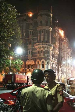 The Taj Mahal hotel burns
