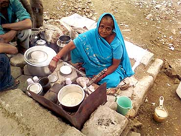 Raj Dulari, a roadside tea vendor, who says she was forcefully evicted from Noida Mor near Games Village, had no source of income for four months