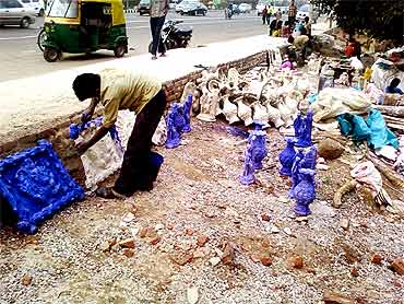 The sculptors allege that the police harassed them and destroyed their creations