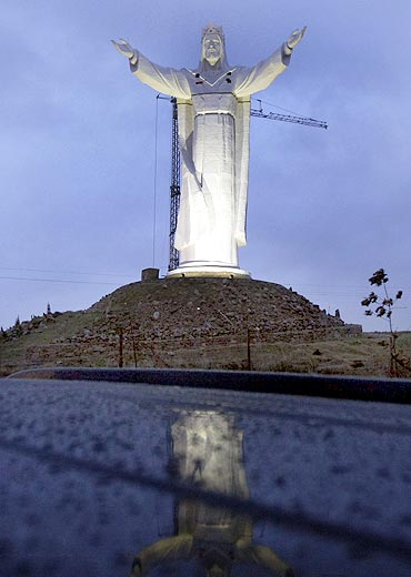 The giant statue of Jesus Christ is seen in Swiebodzin