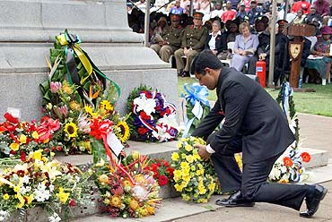 India's Consul General in Johannesburg Vikram Doraiswami lays a wreath at the Cenotaph in honour of the Indian Ambulance Corps formed by Mahatma Gandhi
