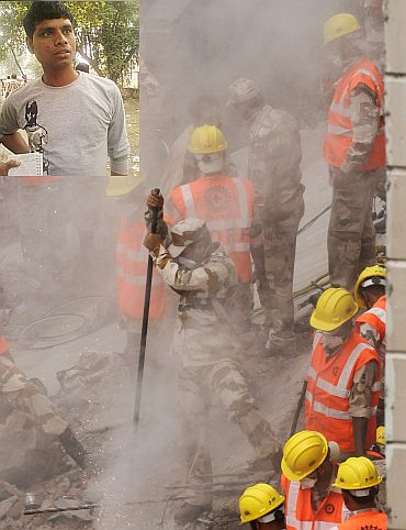Rescue workers and security personnel search for survivors under the rubble. (Inset) Raja Saxena