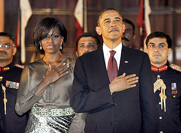 Barack and Michelle Obama at the State dinner at Rashtrapati Bhavan