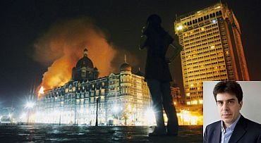 The 26/11 attack on the Taj hotel in Mumbai. Inset: Sebastian Rotella