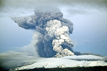 Smoke billows from a volcano in Eyjafjallajokull