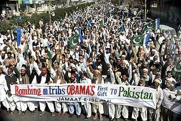 Supporters of the Pakistani Islamist party Jamat-e-Islami protest against military operations and drone attacks in tribal areas