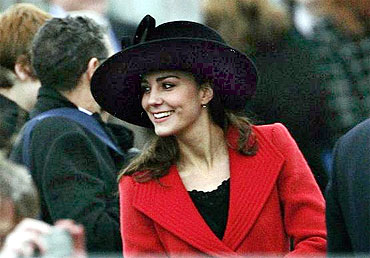 Prince William's girlfriend Kate Middleton smiles during a function in Southern England