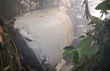 The ill-fated AI plane at the crash site near Mangalore airport