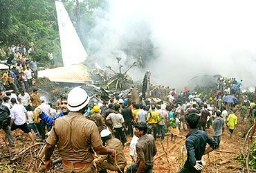 Rescue operations at the crash site near Mangalore