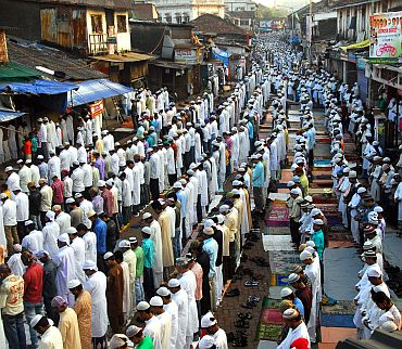 Muslims offer prayers at Dharavi in Mumbai