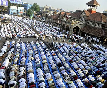 Muslims offer prayers at suburban Bandra in Mumbai