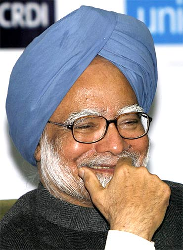 A rare smile from the prime minister.