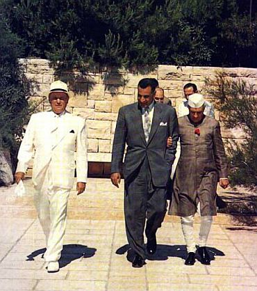 Yugoslav President Marshal Josip Broz Tito, first Secretary-General of the Non-Aligned Movement, with President Nasser of Egypt, and Prime Minister Nehru of India, at a summit on Brioni Islands in 1956