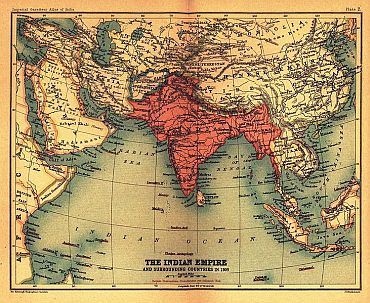 The map of British Indian Empire and surrounding countries in 1909, published in the Imperial Gazetteer of India