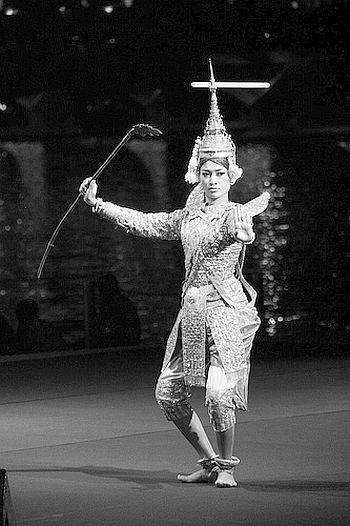Cambodian interpretation of the Ramayan being enacted at a theatre