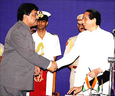 Former Maharashtra chief minister Ashok Chavan, who quit over the Adarsh scam, in happier times