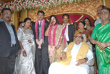 DMK chief and Tamil Nadu Chief Minister M Karunanidhi with Dayanidhi Alagiri and Anusha