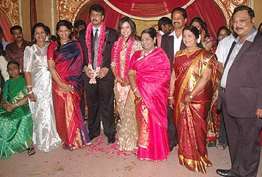 Rajya Sabha MP Kanimozhi with the happy couple