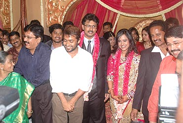 Actor Suriya with Dayanidhi Alagiri and Anusha