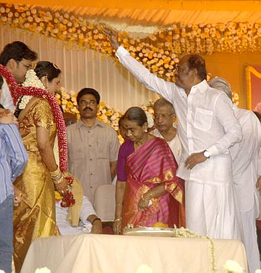 Superstar Rajnikanth blesses the couple