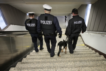 German federal police officers patrol at the main railway station in Hamburg