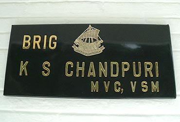 The sign outside his home: Brigadier Kuldip Singh Chandpuri, Maha Vir Chakra, Vishisht Seva Medal