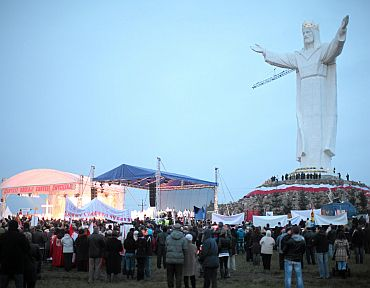 About 15,000 Christian pilgrims and tourists streamed into the western Polish town