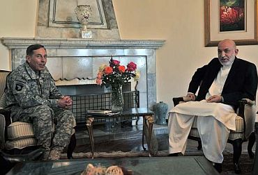 Karzai with David Petraeus, commander of US and NATO troops in Afghanistan