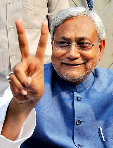 Bihar Chief Minister Nitish Kumar after the election result, Patna, November 24, 2010