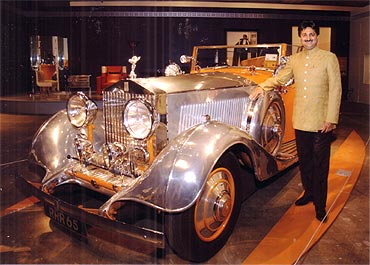 Mandhatasinhji Jadeja with the car at an art gallery in Toronto on November 13, where it is currently being displayed