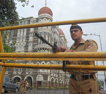 A police checkpost outside the Taj Hotel
