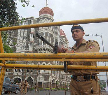 A police checkpost outside the Taj Hotel