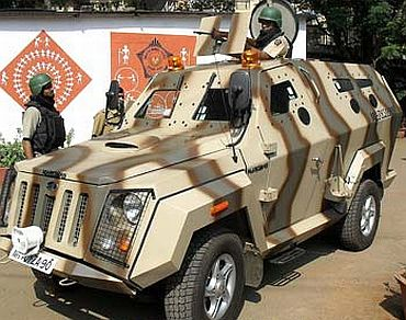An armoured vehicle of Mumbai Police on patrol
