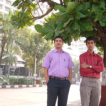 Manoj Kanojia (right) and his friend outside Hotel Trident