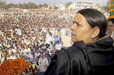Rabri Devi at an election rally in Bihar