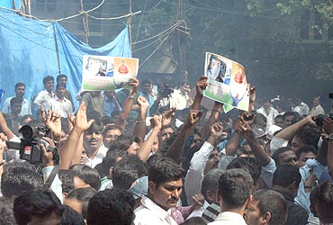 Supporters celebrate Jagan's decision in Hyderabad on Monday