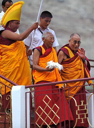 The Dalai Lama at the Disket monastery in Nubra Valley, Ladakh