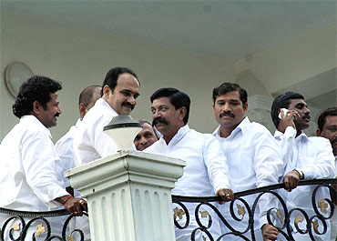 Jagan loyalists and MLAs at his residence on Monday morning