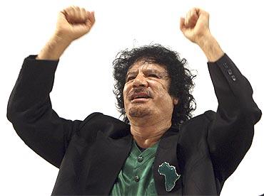 Libyan leader Muammar Gadaffi