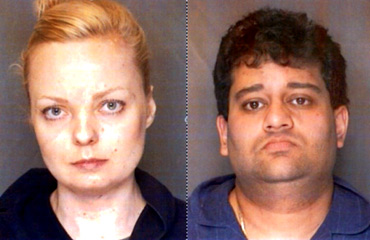 Police mug shots of Vickram Bedi and his girlfriend Helga Invarsdottir