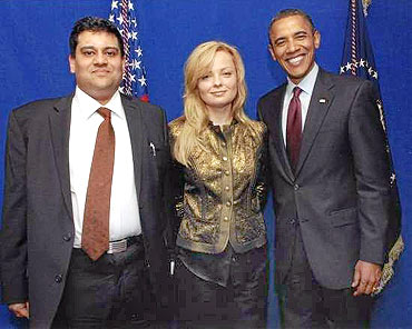 Bedi and Helga Invarsdottir with US President Barack Obama