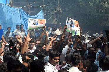 Jagan's supporters outside his house in Hyderabad