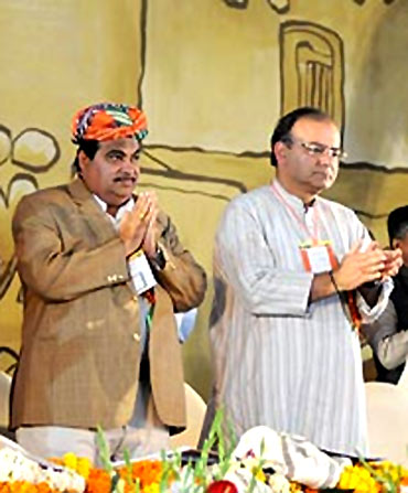 BJP president Nitin Gadkari with senior party leader Arun Jaitley