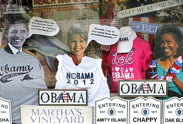 Cutouts of US President Barack Obama, former Alaska governor Sarah Palin and Michelle Obama