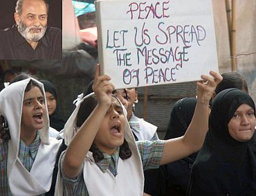 Children taking part in a peace rally in Mumbai. (Inset) Zafaryab Jilani