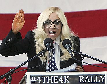 Singer Lady Gaga speaks at a rally in Portland, Maine on September 20, urging members of the US Senate to repeal the military rule banning openly gay people from serving in the armed forces. The event was organised by the Servicemembers Legal Defence Network to pressure Republican US Senators Olympia Snowe and Susan Collins of Maine to vote to allow a repeal of the policy