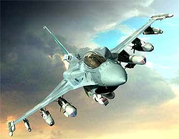 A US Air Force F-16N fighter jet